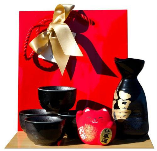 Gift Bag – Red cat & Sake set Japanese metallic black gold Fortune calligraphy 4 cups